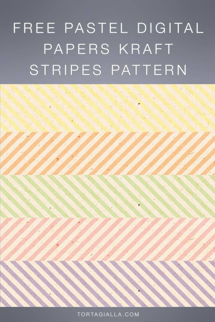 Download these freebie striped papers in a pastel color palette and kraft texture on tortagialla.com