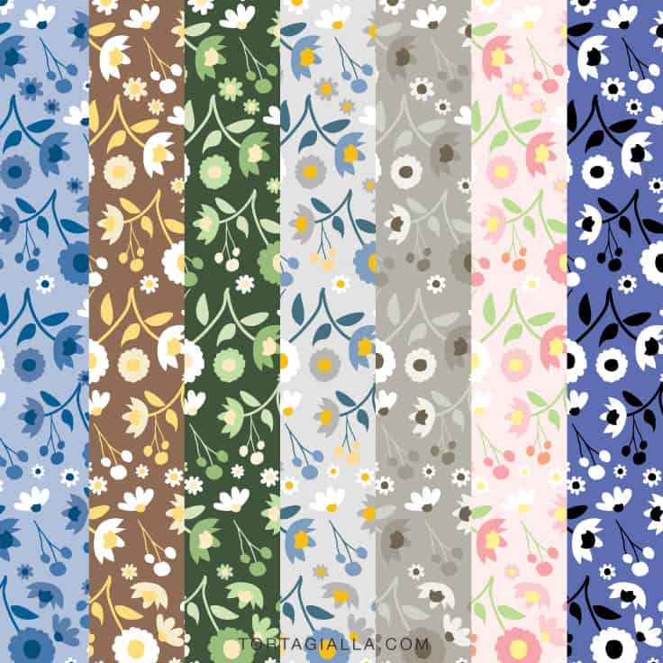 Download these free floral digital papers in a variety of colors on tortagialla.com