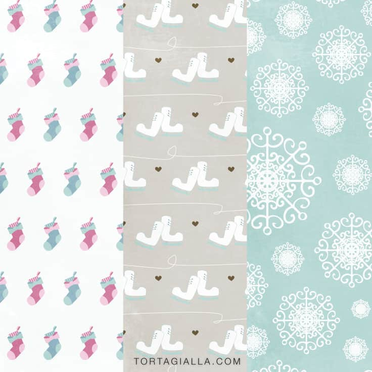 Preview of cozy winter patterned paper printables.