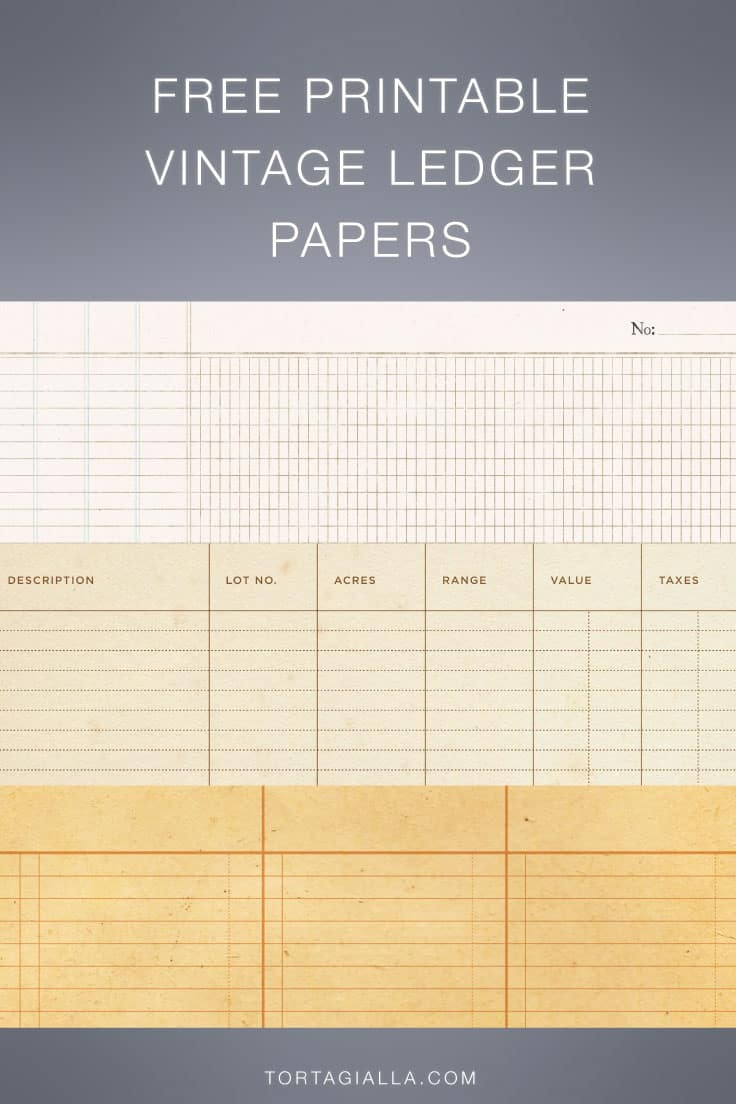 Download these vintage ledger paper designs to print at home for all your paper crafting projects.