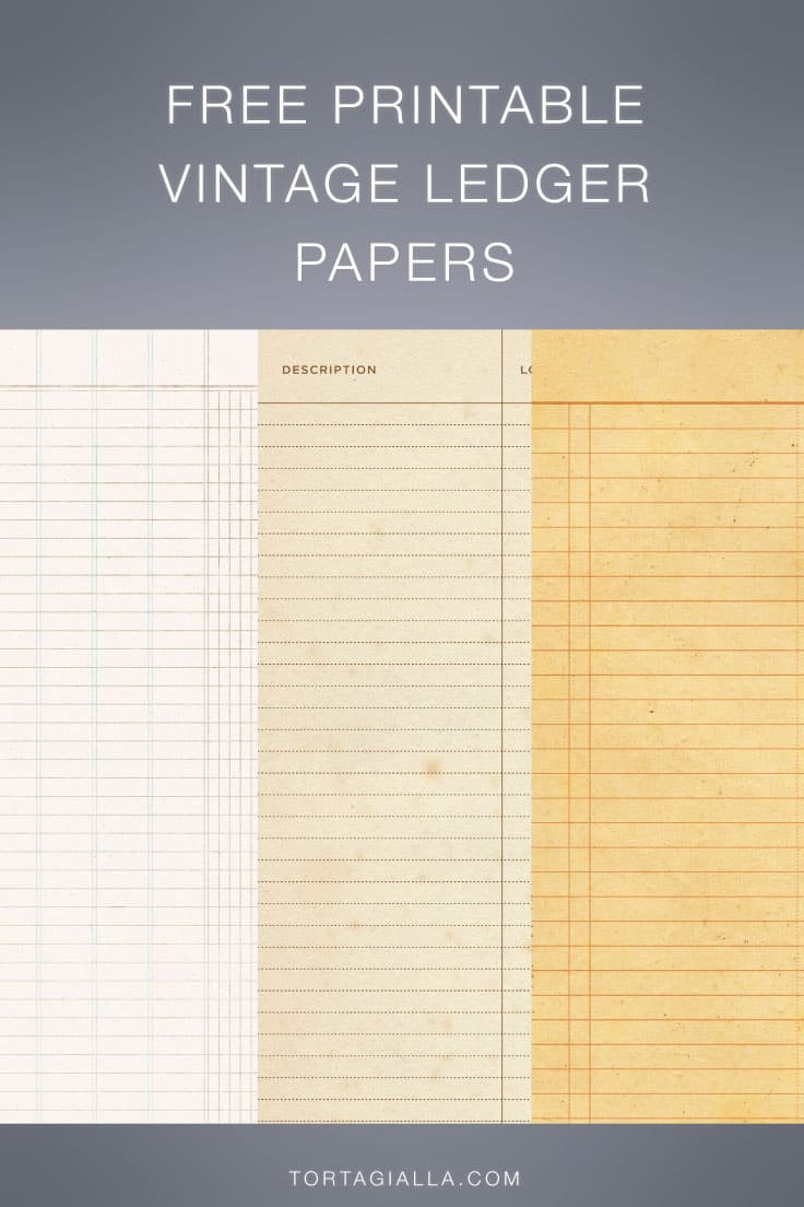 Download these free printable vintage ledger paper for all your junk journal and paper crafting projects - a variety of papers to choose from!