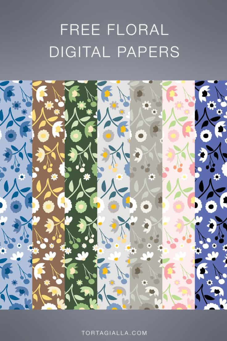 For scrapbooking, journaling and planner decoration, download these free floral digital papers on tortagialla.com