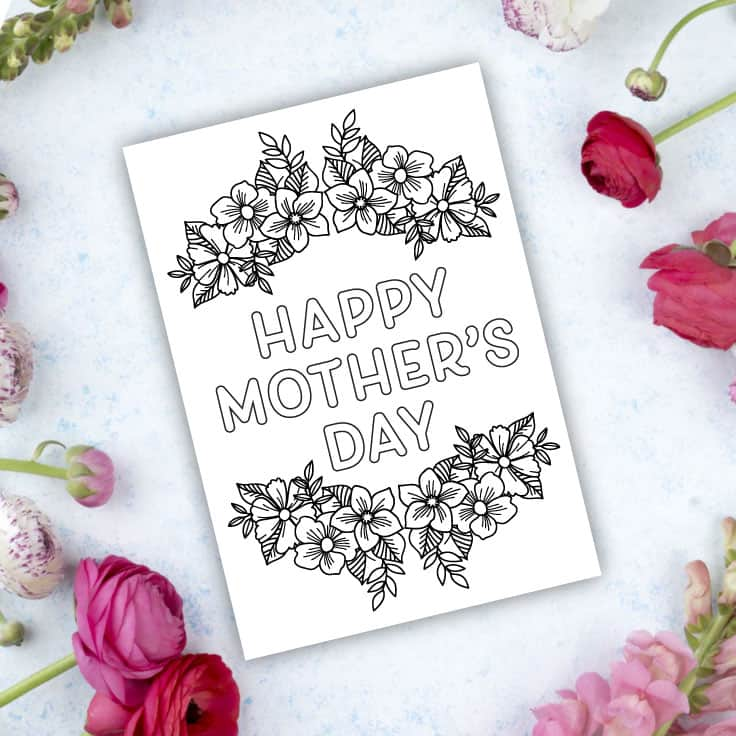 Freebie printable mother's day card for coloring